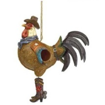 rooster cowboy bird house